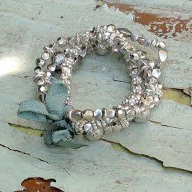 Elasticated silver bracelet by Anusha