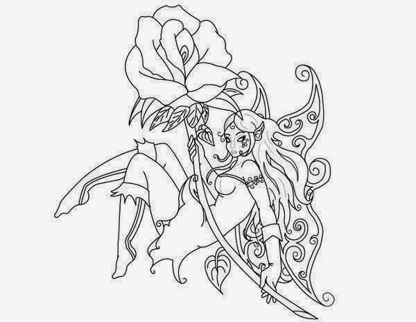 Fairy with rose tattoo stencil