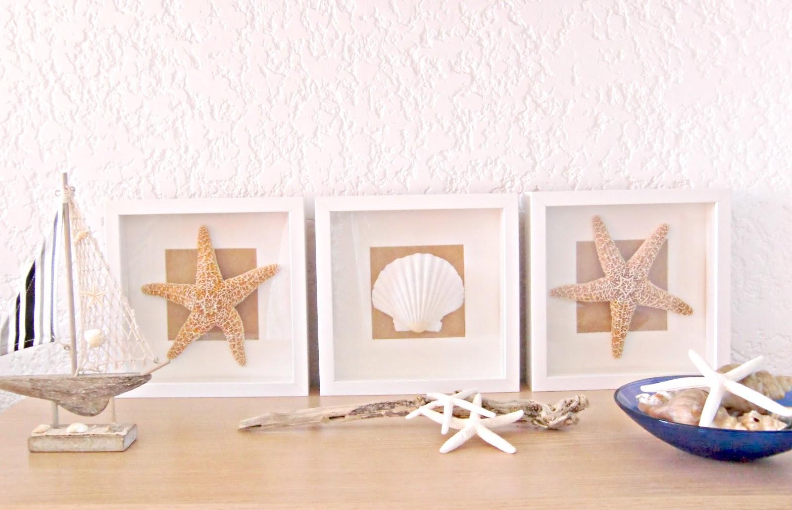 Vicky 39 s home diy cuadros de conchas y estrellas de mar for Cuadros para banos ikea