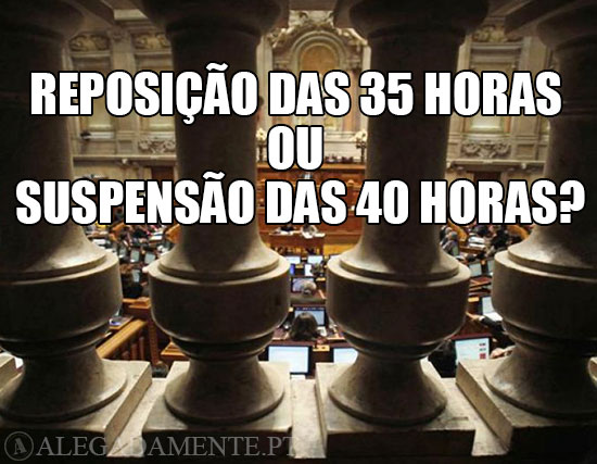 Imagem da assembleia da República – Reposição das 35 horas ou Suspensão das 40 horas?