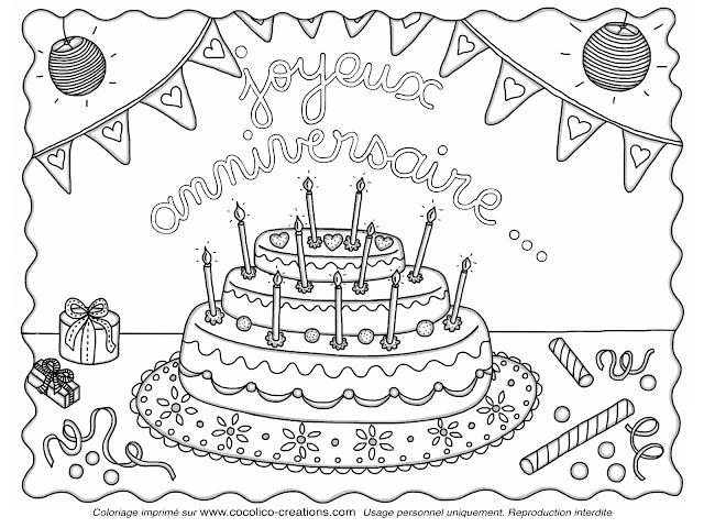 coloriage à imprimer anniversaire - Le gâteau d anniversaire et les ballons en coloriage à