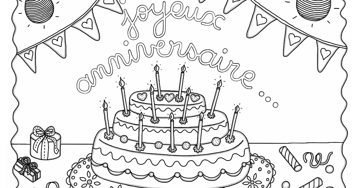 cocolico creations mercredi coloriage 9 gateau d 39 anniversaire. Black Bedroom Furniture Sets. Home Design Ideas