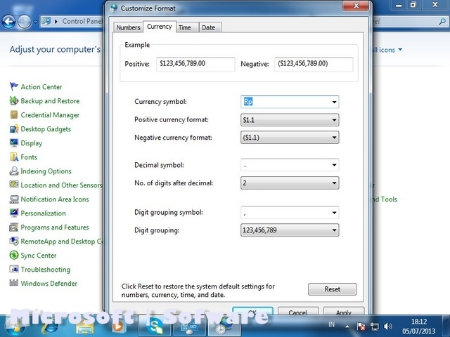 how to change windows region format