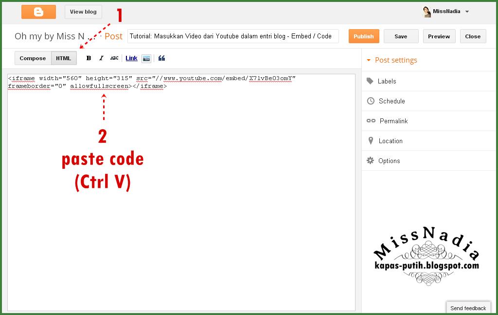 Tutorial: Masukkan Video dari Youtube dalam entri blog - Embed / Code