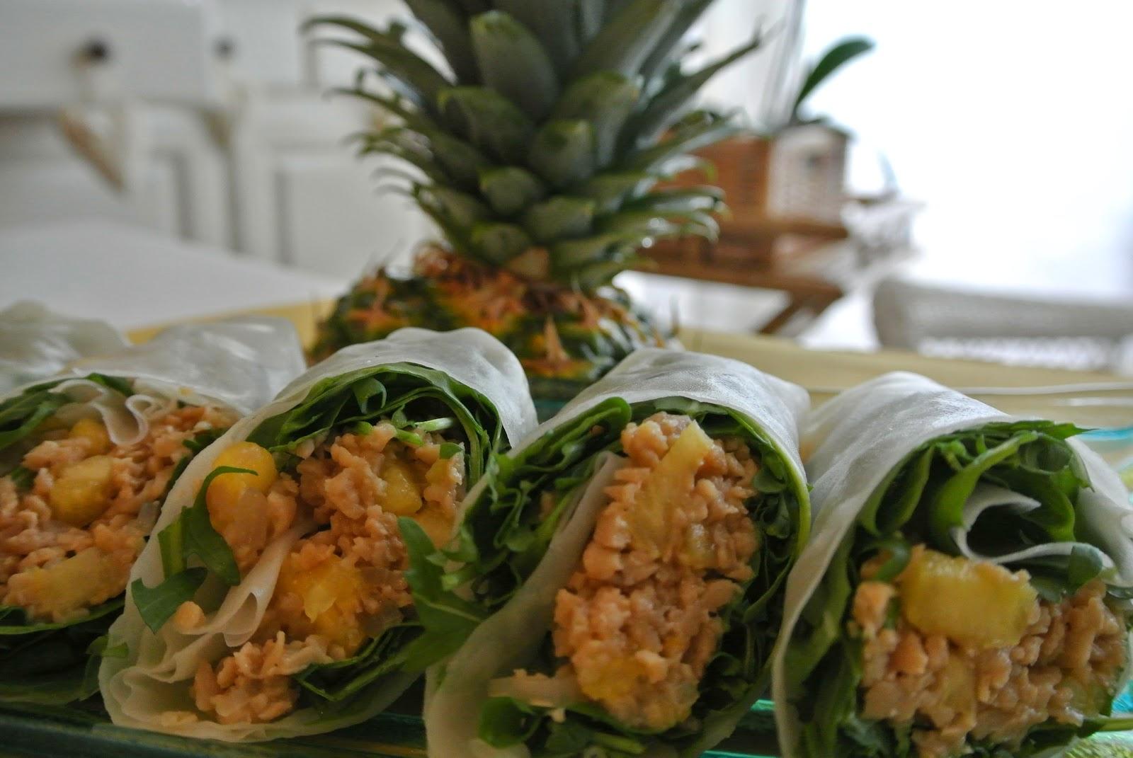 involtini con soia, ananas e rucola