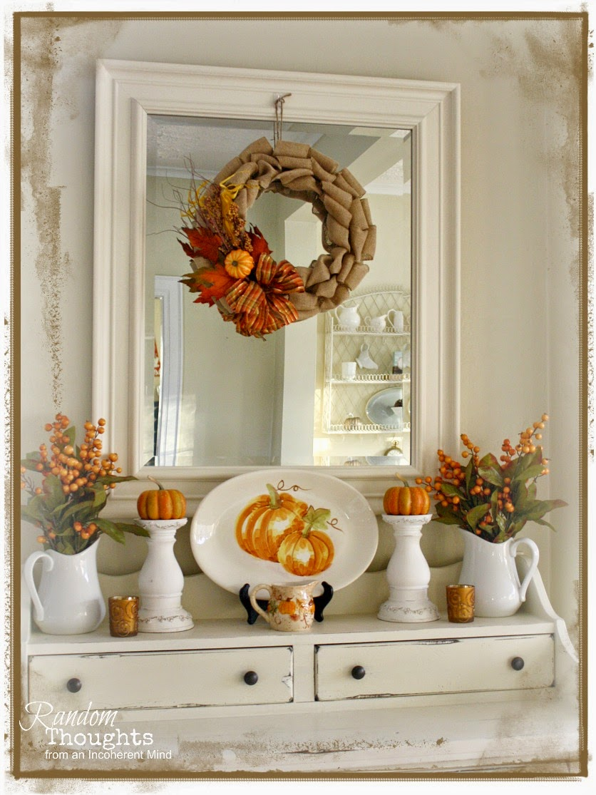 Fall decor dining room hutch random thoughts home for Home goods fall decorations