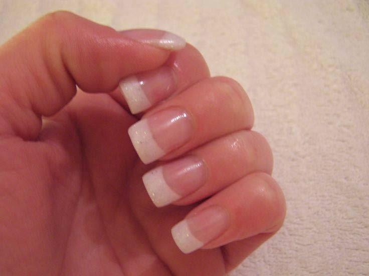 Acrylic white glitz frenchies-Pink and white acrylic frenchies
