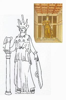 dibujo colorear Atenea, Fidias