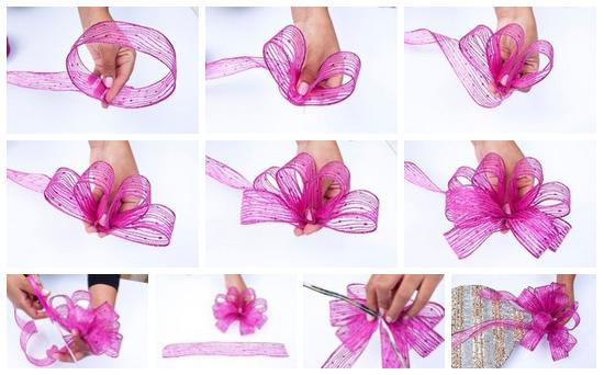 Как своими руками сделать бант на подарок из ленты своими руками фото 186
