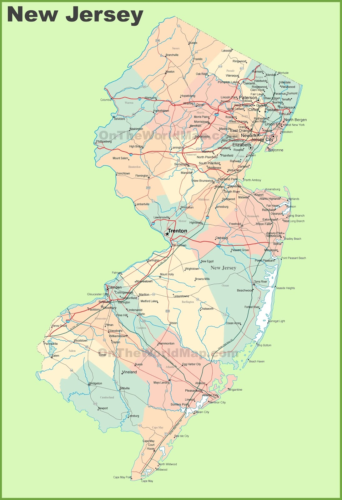 Map Of New Jersey State Map Of Usa