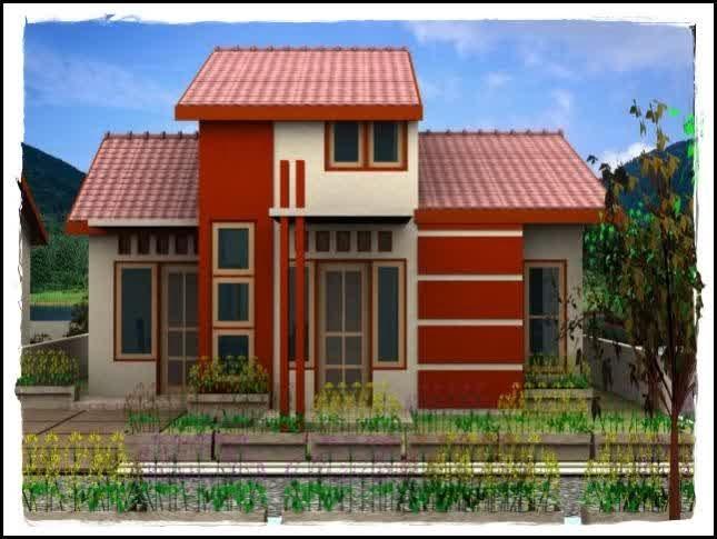 Contoh Rumah Minimalis Type 45 1 Lantai Warna Merah