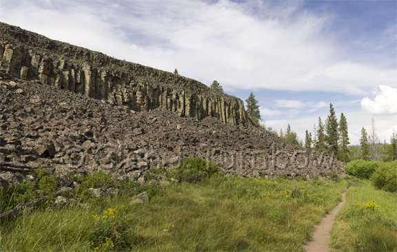 8 photo panorama - Sheepeater Cliff, Yellowstone National Park