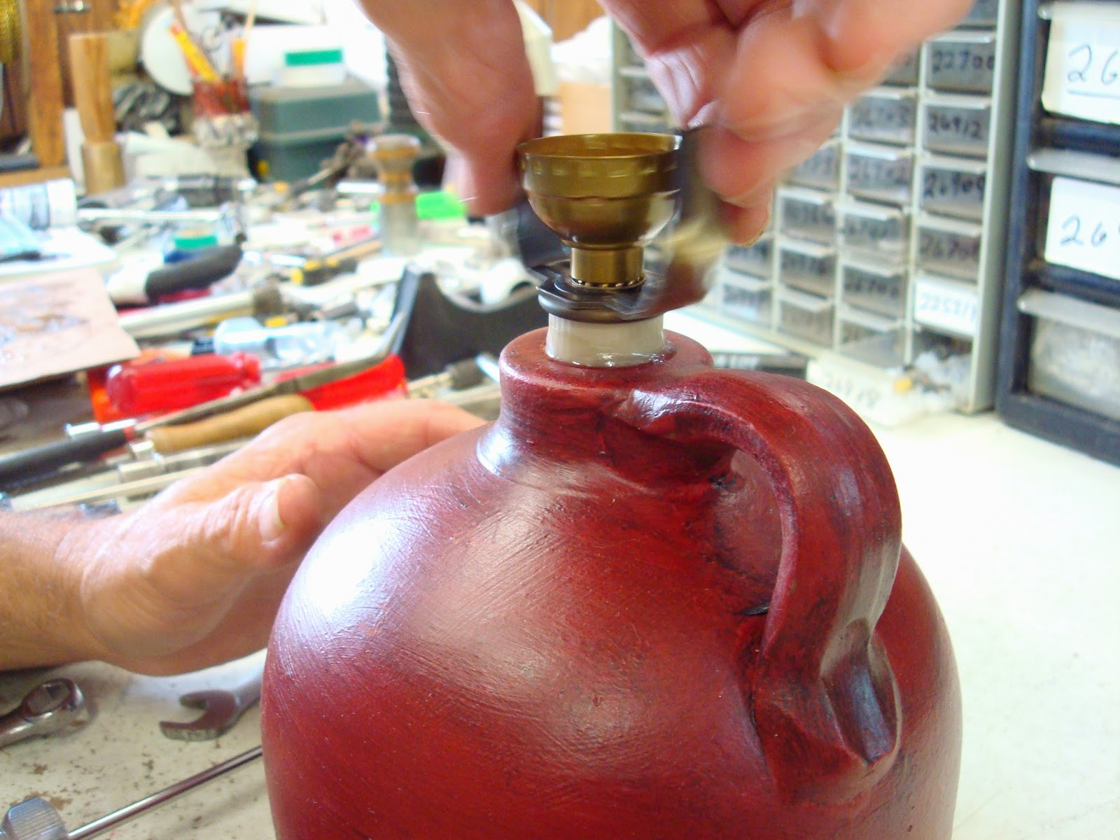 making a jug lamp inserting socket