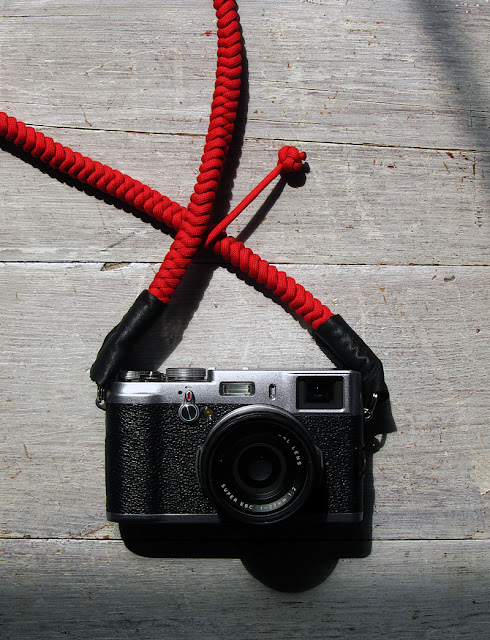 Fuji X100 Camera with Red Bespoke Strap by Tim Irving