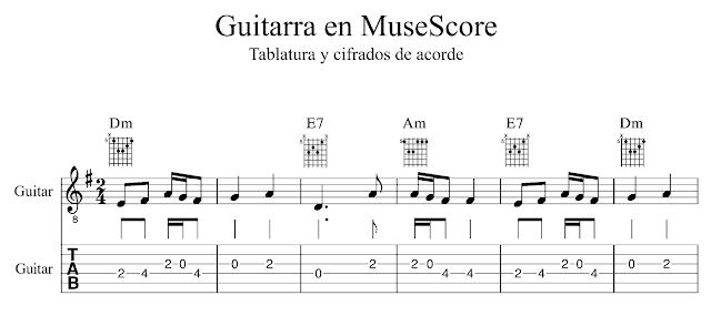 MuseScore Guitarra Tablatura gráficos de acorde Álvaro Buitrago