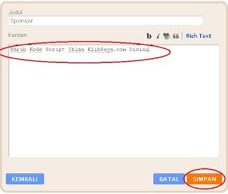 kode script zona iklan header kliksaya.com