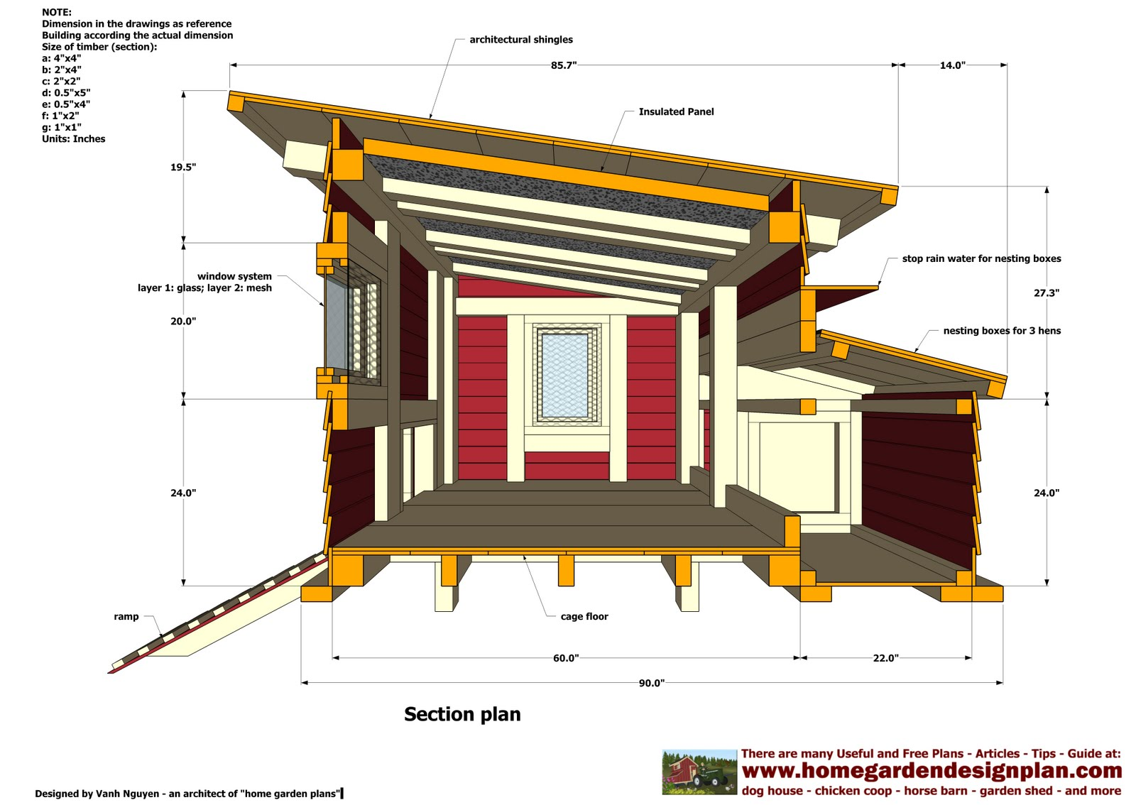Diy plans large chicken coop plans free pdf download for Chicken coop dimensions