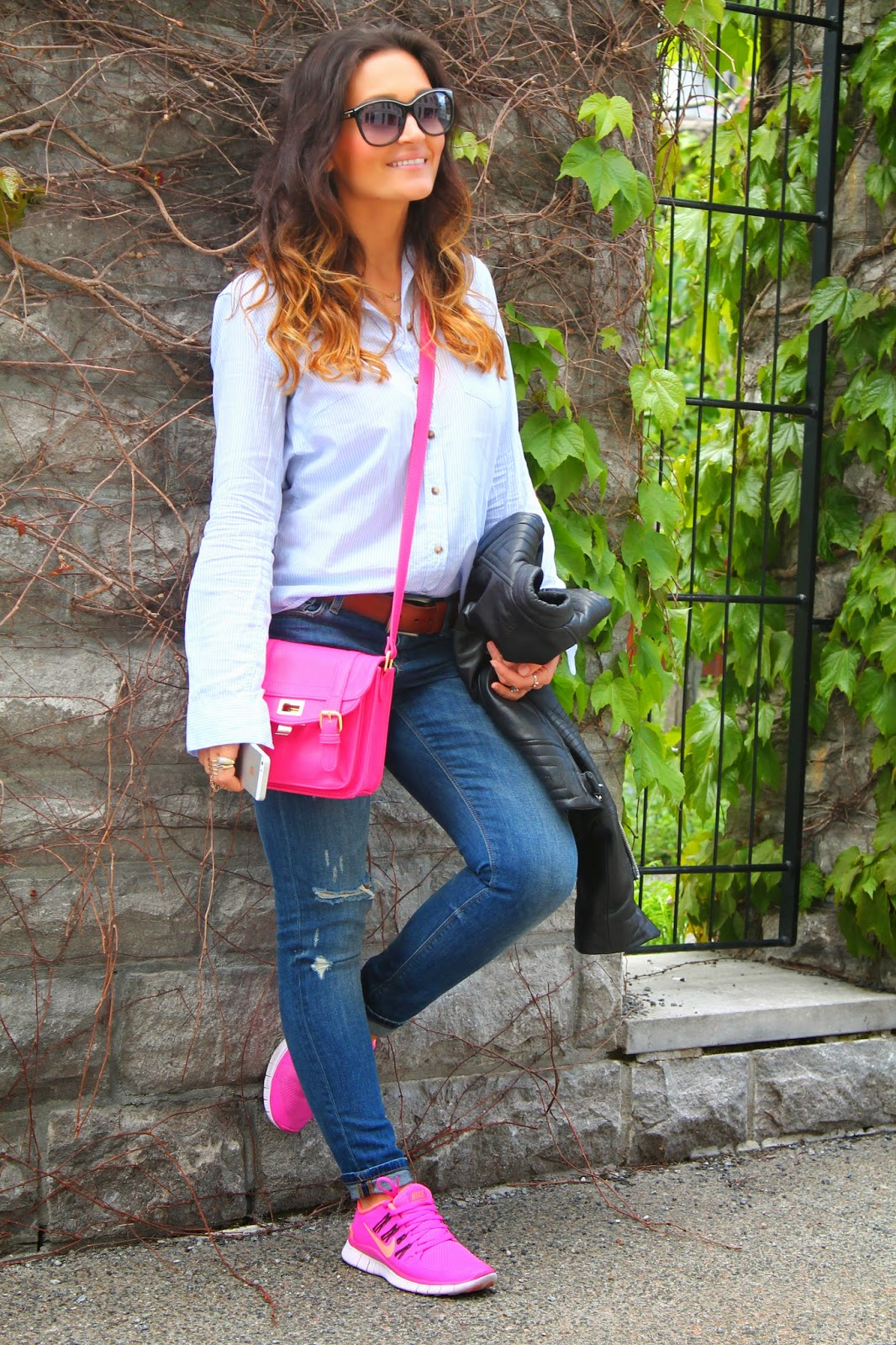 impressive pink nike shoes outfit black