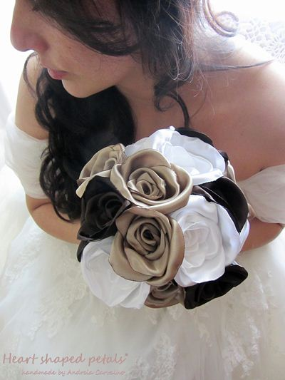 Bridal fabric bouquet with roses