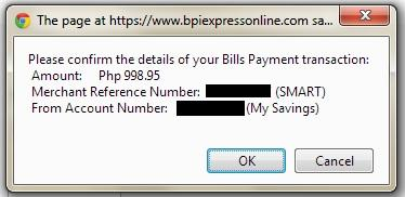 Confirmation page for BPIExpressOnline bills payment