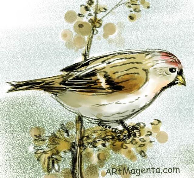 En fågelmålning av en snösiska från Artmagentas svenska galleri om fåglar