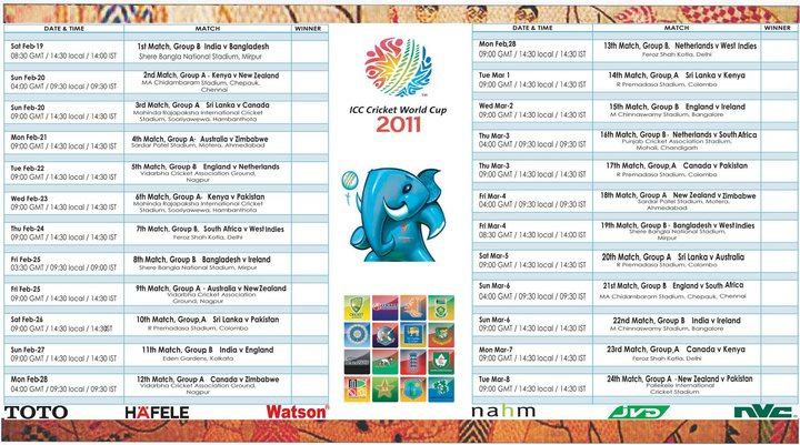 World Cup 2011 Schedule Wallpaper. World Cup 2011 Schedule