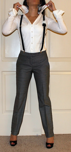 Anne Fontaine suspenders, Anne Fontaine blouse, Theory Pants,  Louboutin heels petite ootd