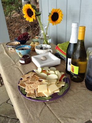 Snacks and wine