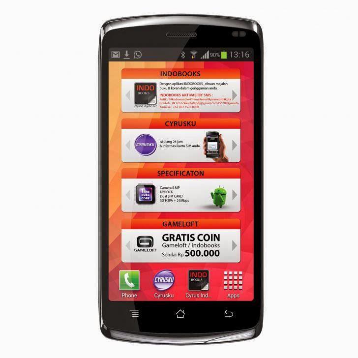 Harga Dan Spesifikasi Cyrus Glory 4GB Terbaru, OS Android v4.2 JellyBean Plus CPU Dual-Core 1 GHz