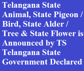 Telangana State Animal, State Pigeon / Bird, State Alder / Tree & State Flower is Announced by TS Telangana State Government Declared