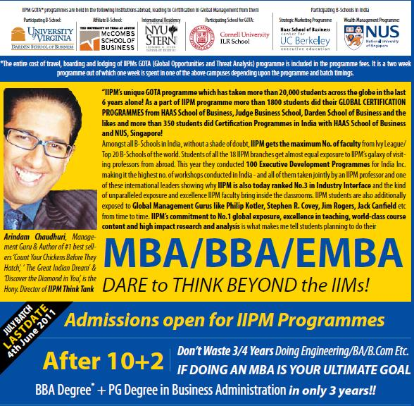 IIPM ADMISSIONS IN INDIA?