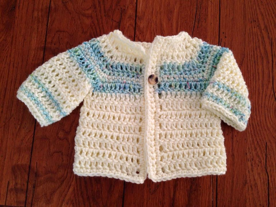 Crochet Newborn Baby Sweater Free Pattern : Craft Brag: Crochet Baby Boy Sweater Pattern - Free