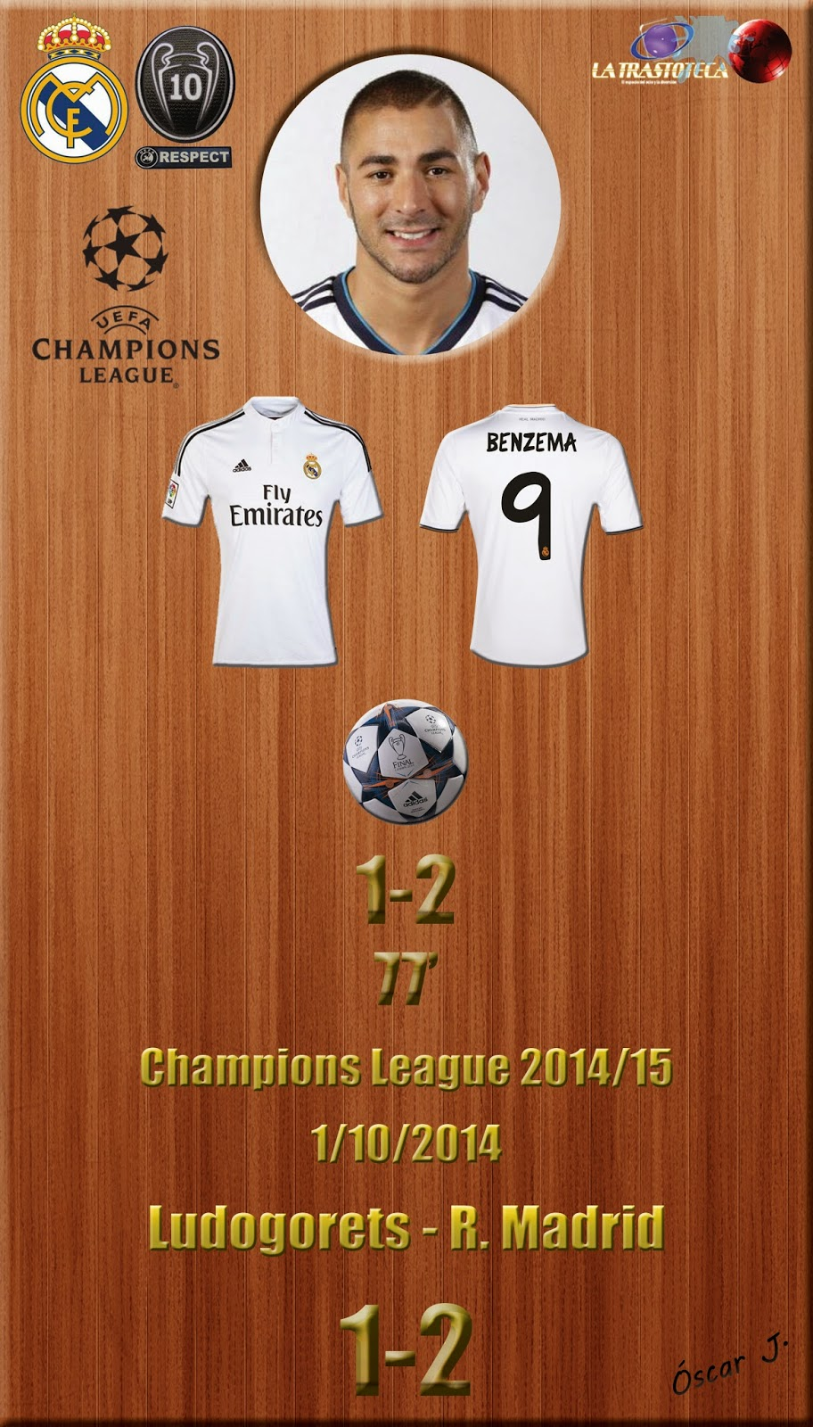 Benzema (1-2) - Ludogorets 1-2 Real Madrid - Champions League 2014/15 - (1/10/2014)