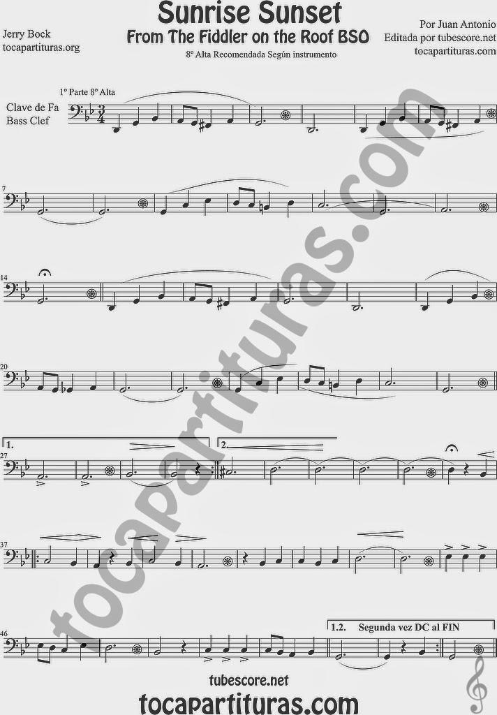 Partituras El Violinista en el Tejado en Clave de Fa (tonalidad fácil) Easy Sheet Music in Treble Clef (abajo partituras en la tonalidad original)