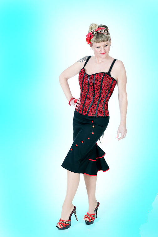 Pin-up button-up rockabilly skirt