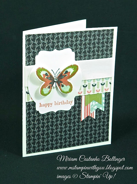Miriam Castanho Bollinger, #mstampinwithyou, stampin up, demonstrator, ccmc, birthday card, timeless elegance dsp, pretty petals dsp, watercolor wings bundle, big shot, deco labels collections, su