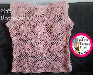 Blusa de crochê, Blusas, blusa de croche em squares, squares de croche, flores  de croche em squares