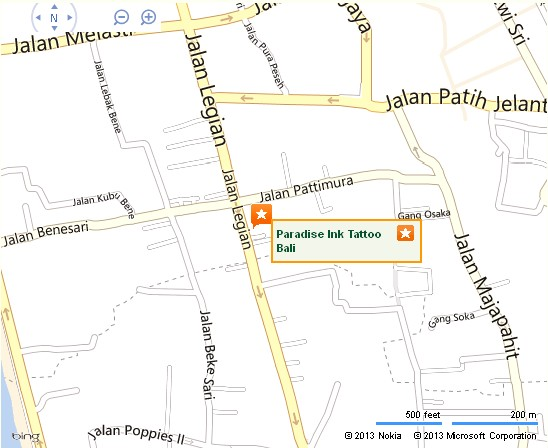Detail Paradise Ink Tattoo Kuta Bali Location Map