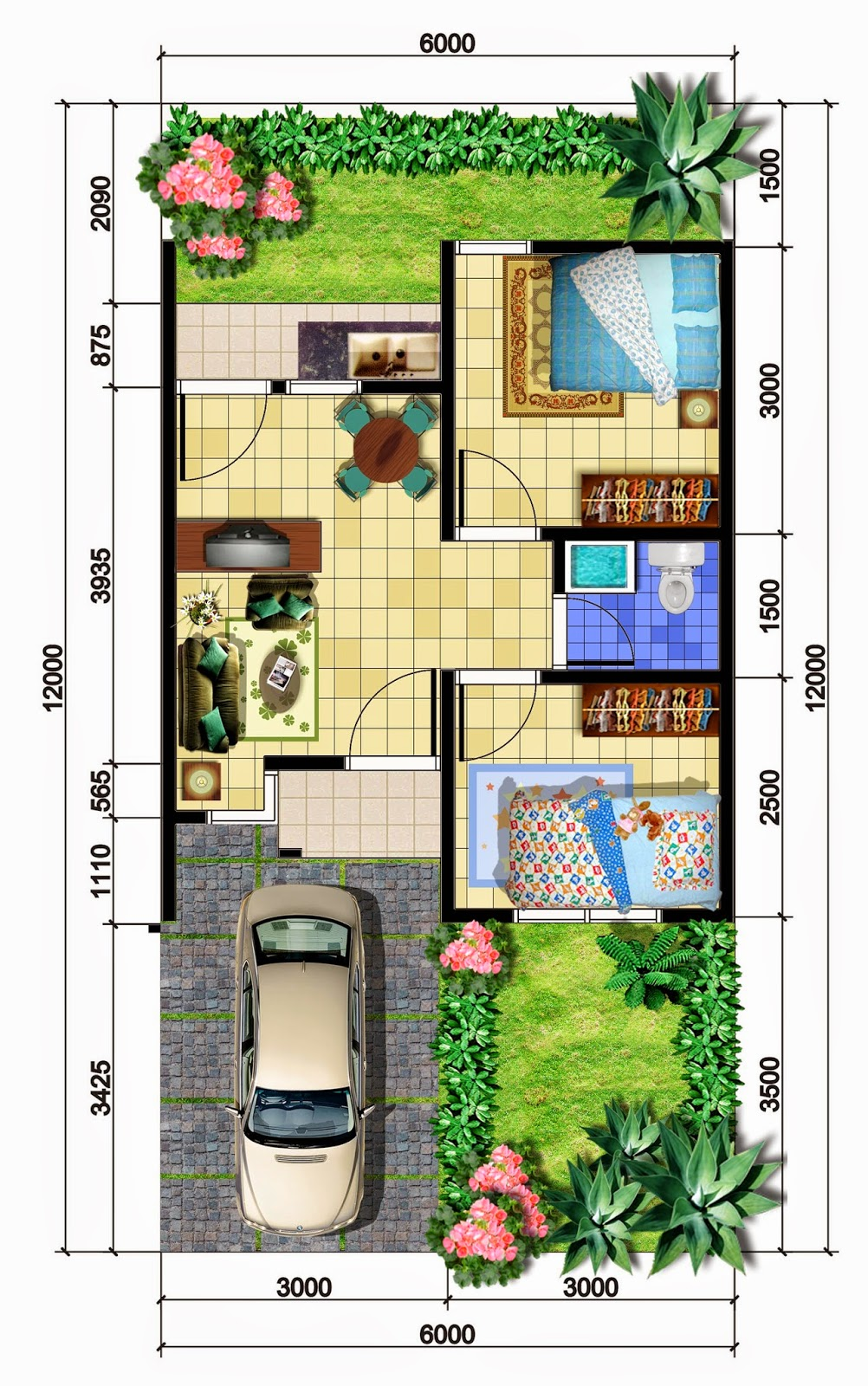 Denah Rumah Minimalis Tipe 36