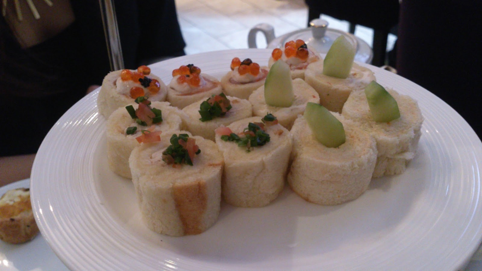 ... there were smoked salmon with salmon caviar cucumber with cream