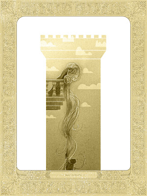 """Rapunzel"" Once Upon A Time Gold Variant Screen Print by Kevin Tong"