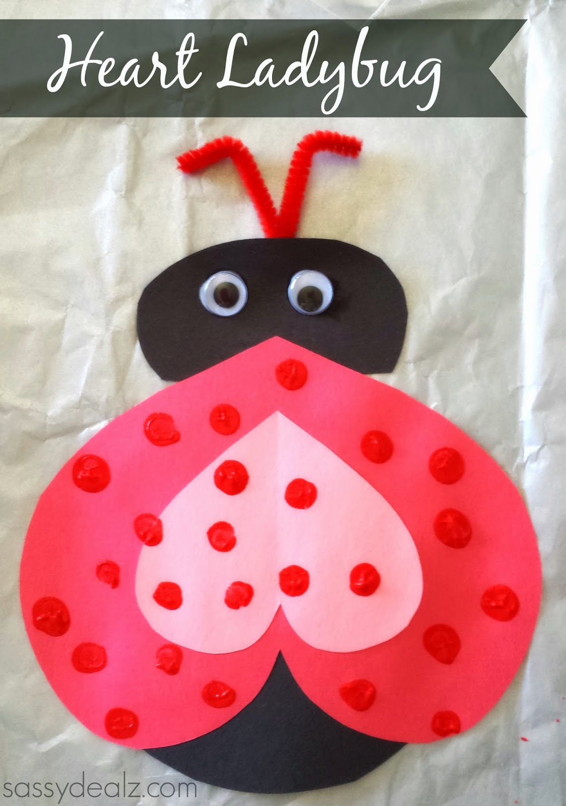 heart ladybug craft for valentines