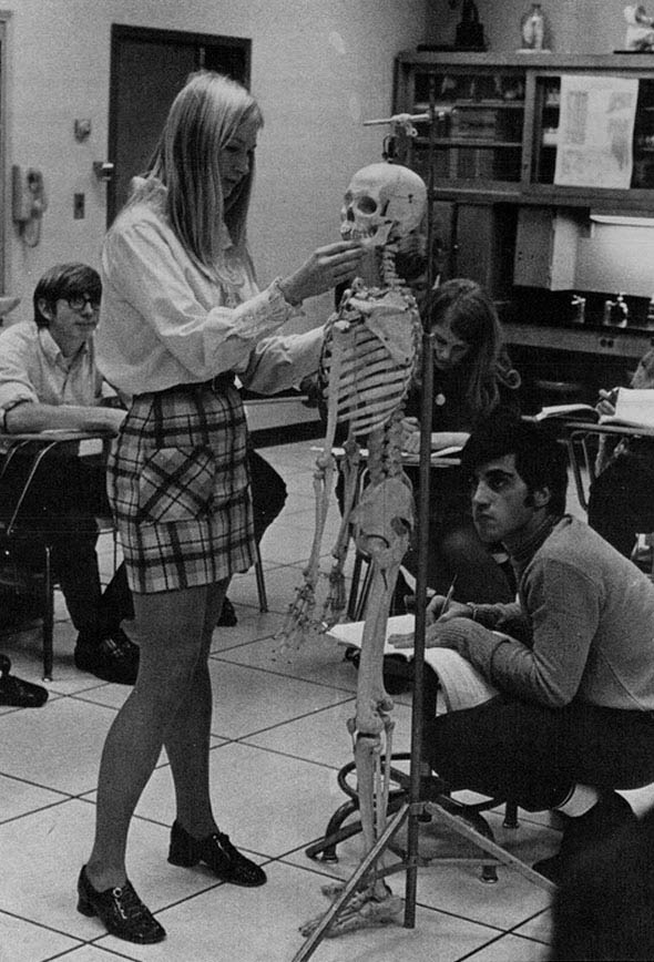 Modern White Classroom ~ Mini skirts in the classroom past vintage everyday