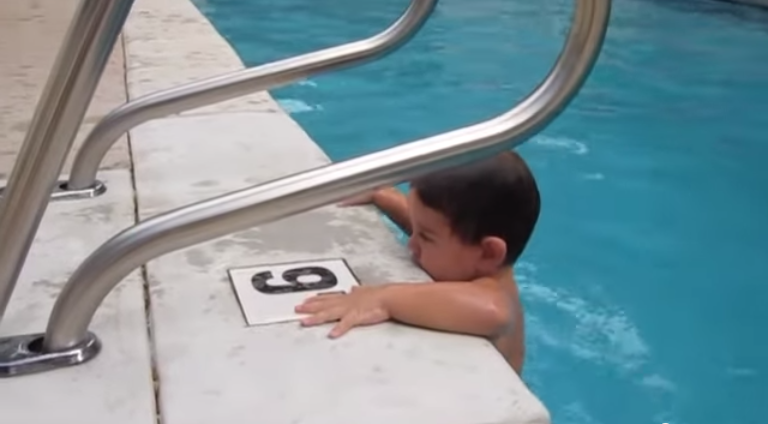 This little boy can dive a 9 ft swimming pool