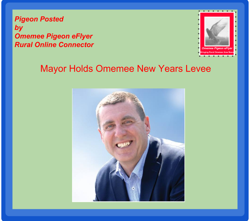 image Omemee Pigeon Posted Mayor Andy Letham Hosting Omemee New Years Levee- shows Mayor Letha on Omemee Pigeon envelope with Omemee Pigeon stamp
