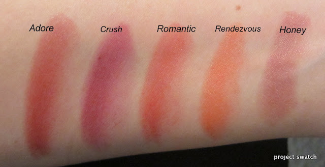 Revlon Kissable Balm Stains swatches - Adore, Crush, Romantic, Rendezvous, Honey