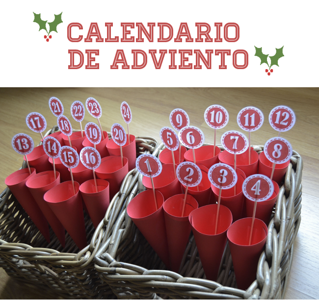 Calendario Adviento ideas cono cartulina