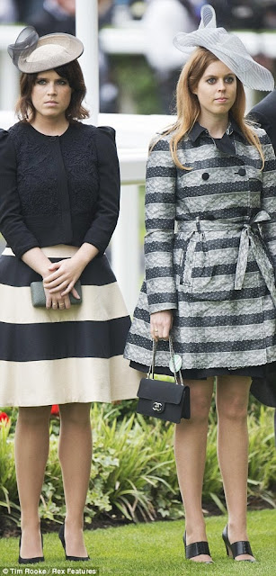 Princesses Eugenie and Beatrice were pretty in black and grey, in hats by Nerida Fraiman, Royal Ascot, 2013