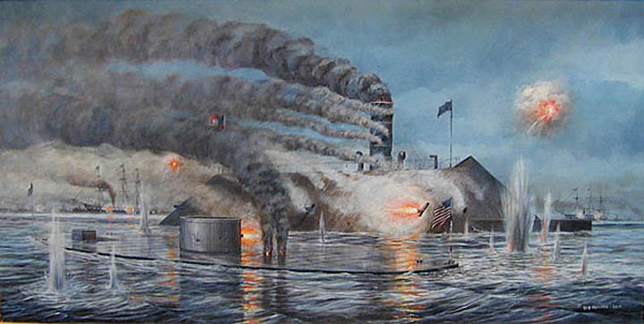 an examination of the naval battle between uss monitor and css merrimack Uss merrimack, also improperly american civil war the css virginia then took part in the battle of hampton roads (also known as the battle of the monitor and.