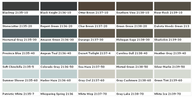 Benjamin Moore Green Paint Colors Charts